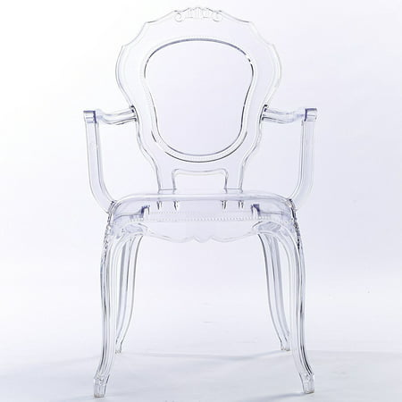 2xhome Clear Transparent Modern Ghost Chair Armchair Vanity Dining Room Lounge Acrylic Molded Mirrored Furniture Desk Vanity Dining Chairs With Arms Armchair Accent Desk Work Living Room Office Work