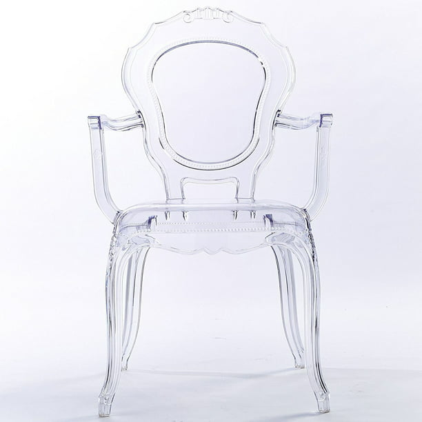 2xhome Clear Transparent Modern Ghost Chair Armchair Vanity Dining Room Lounge Acrylic Molded Mirrored Furniture Desk Vanity Dining With Arms Armchair Accent Desk Work Room Office 1 Chair Only Walmart Com