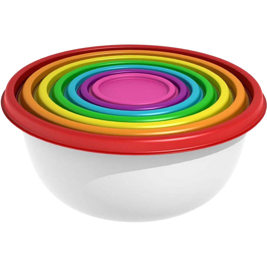 Mainstays 14-Piece Round Rainbow Food Storage & Mixing Bowl Set