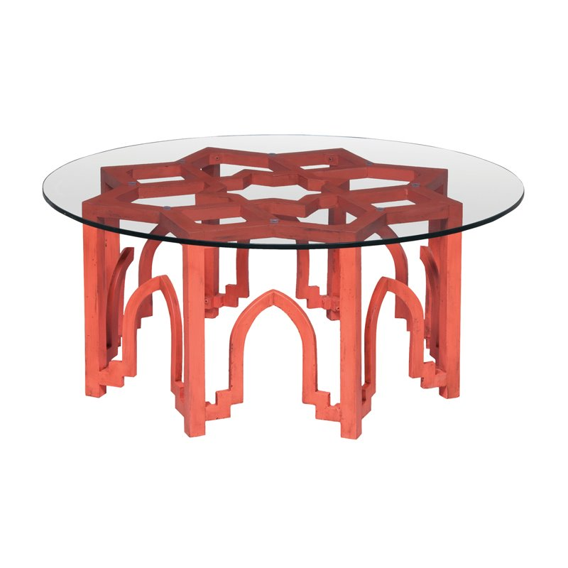 GuildMaster Marrakesh Round Glass Top Coffee Table in Red