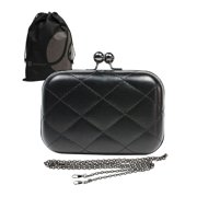 Small Square Black Quilted Clutch with Metal Closure and Strap