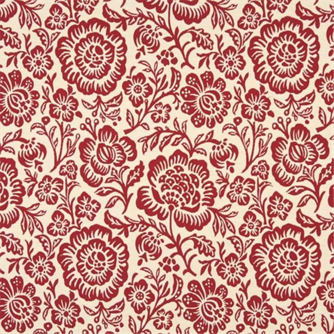 Designer Fabrics F408 54 in. Wide Red And Beige Floral Matelasse Reversible Upholstery Fabric