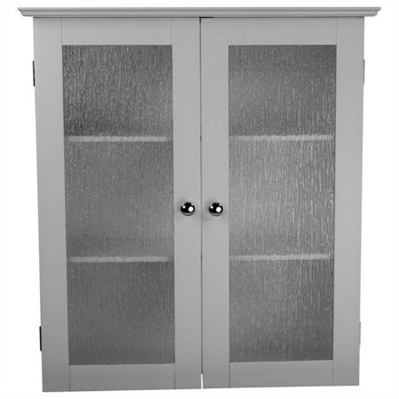 Elegant Home Fashions Connor Wall Cabinet with 2 Glass Doors, White ()
