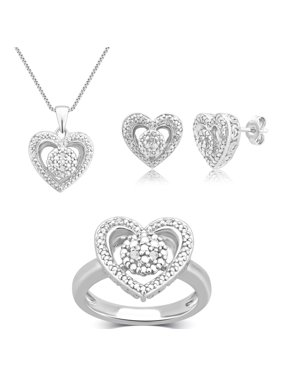 """Diamond Accent Round White Rhodium Plated Ring, Earrings and Pendant Set, 18"""""""