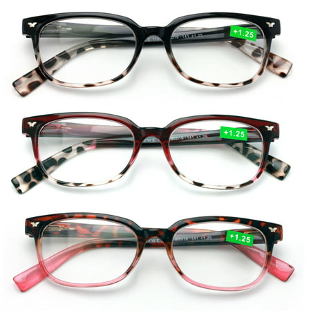 3 Pairs of Women Classic Reader With Spring Hinges - Half Translucent Tortoise Reading Glasses RX Magnification