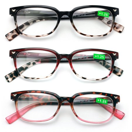 3 Pairs of Women Classic Reader With Spring Hinges - Half Translucent Tortoise Reading Glasses RX -