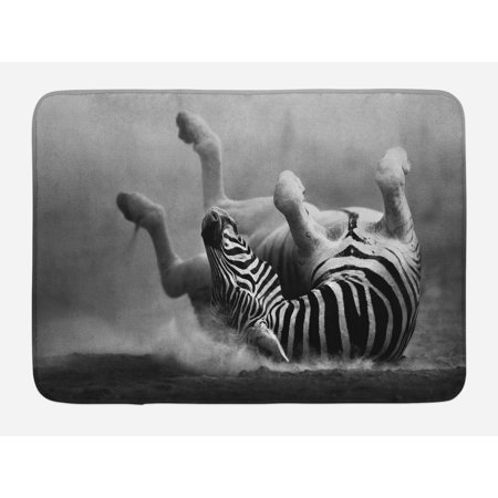 Africa Bath Mat, Zebra Rolling in the Dust Artistic Savage Animal Mammal Activity Eco Photo, Non-Slip Plush Mat Bathroom Kitchen Laundry Room Decor, 29.5 X 17.5 Inches, Black and White, (Savage Mats)