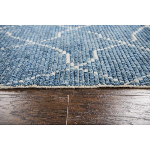 Bungalow Rose Doleman Hand-Knotted Wool Blue Area Rug