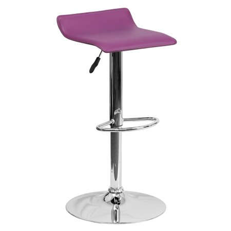 Flash Furniture Contemporary Vinyl Adjustable Height Barstool with Chrome Base, Multiple Colors Bar Stool Red Seat Assembled