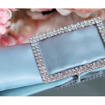 Quasimoon Designer Silver Rhinestone Napkin Ring w/ Clasp - Rectangle, Bejeweled by PaperLanternStore