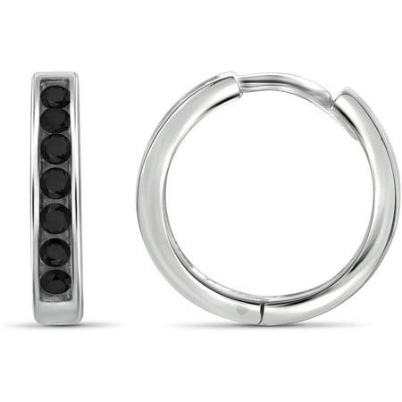 1/2 Carat T.W. Black Diamond Sterling Silver Hoop Earrings - Black And White Hoop Earrings