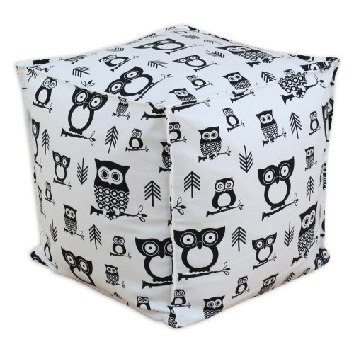 Brite Ideas Living Hooty Seamed Beads Hassock Ottoman - Black