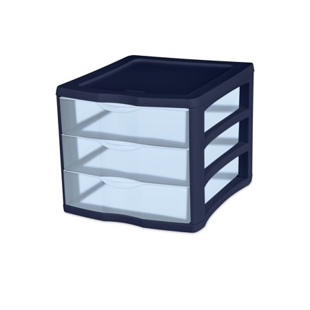 Sterilite 3 Drawer Unit Blue Tint