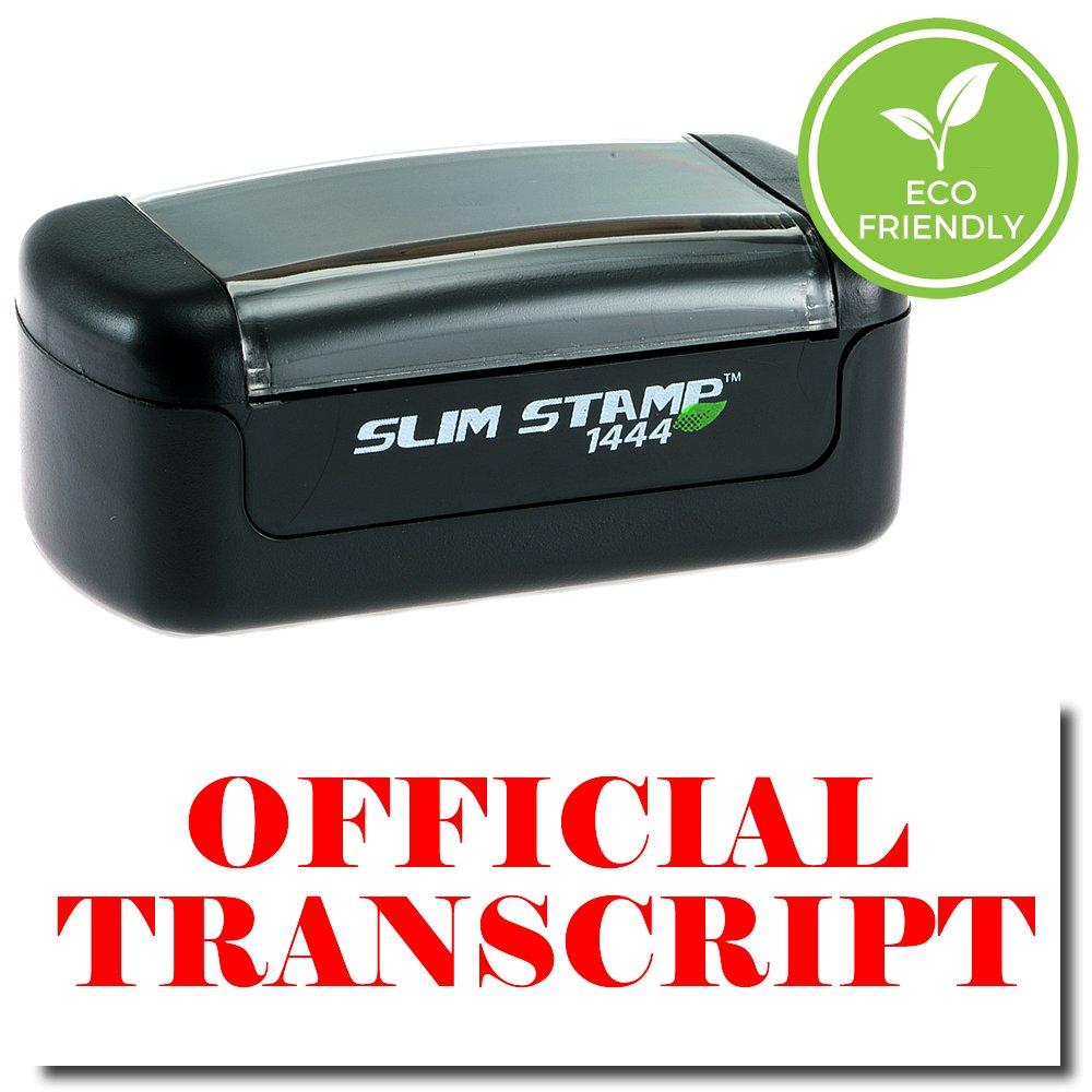 Slim Pre-Inked Official Transcript Stamp with Black Ink