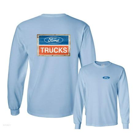 Logo Vintage T-shirt - Ford Trucks Blue Red White Vintage Logo Long Sleeve T-Shirt