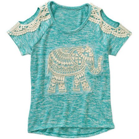 Miss Chievous Girls' Short Sleeve Cold Shoulder Crochet Elephant Top