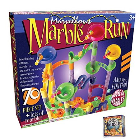 70 piece Marble Run Set with Little Box of Marbles, Marble Bag and Game Instructions (Marble Run Game)