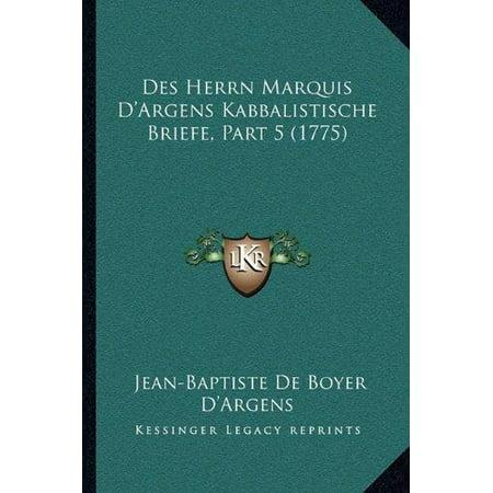 Des Herrn Marquis Dargens Kabbalistische Briefe  Part 5  1775
