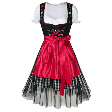 Women's Oktoberfest Plaid Mesh Stitching Embroidery A Line Formal Dresses Suit Color:Red Size:S