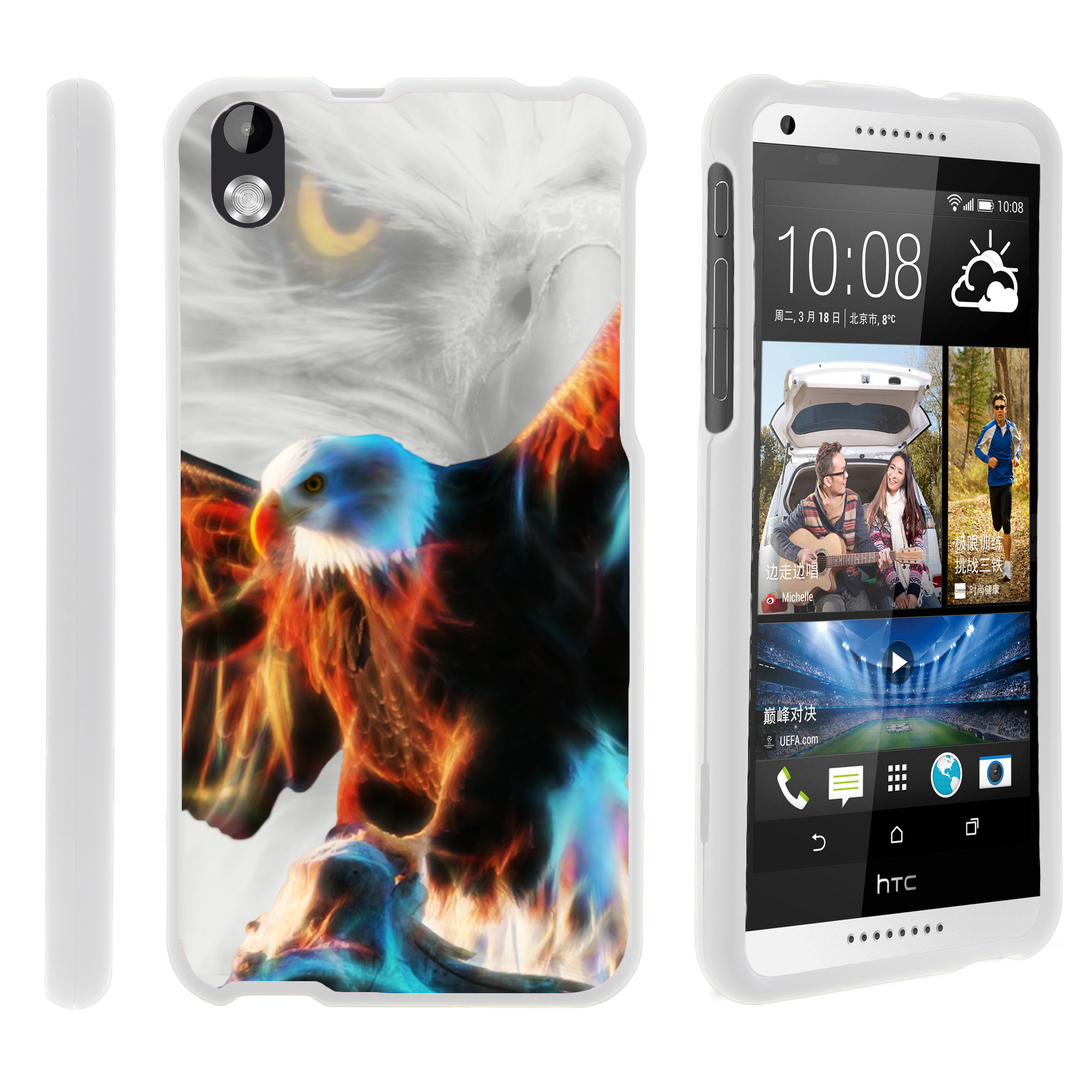 HTC Desire 816, [SNAP SHELL][White] 2 Piece Snap On Rubberized Hard White Plastic Cell Phone Case with Exclusive Art -  Blazing Eagle