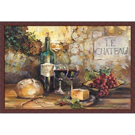 - buyartforless IF WAP 6074 36x24 2 Wnut Plexi Framed Le Chateau by Marilyn Hageman 36X24 Art Print Poster Wall Decor Wines Cheese Grapes Bread Country Tuscan