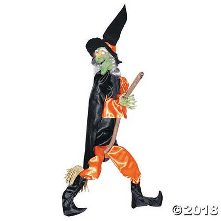 Leg Kicking Witch With Broom Halloween Décor - Halloween Cheese Brooms
