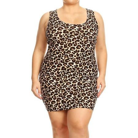 MOA COLLECTION Women's Plus Size Pattern Print Casual Bodycon Sleeveless Racerback Short Tank Dress ()