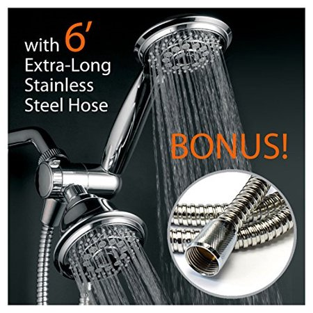 Dual Stainless Pipes - hotelspa 30-setting dual shower heads combo includes overhead showerhead and handshower | 3-way water diverter with angle-adjustable bracket | extra long 6 ft. stainless steel shower hose