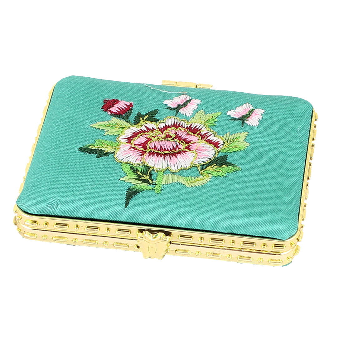 Silk Embroidery Rectangular Folding Pocket Makeup Cosmetic Mirror Turquoise - image 3 of 3