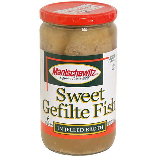 Manischewitz Sweet Gefilte Fish In Jelled Broth, 24 oz (Pack of 6)