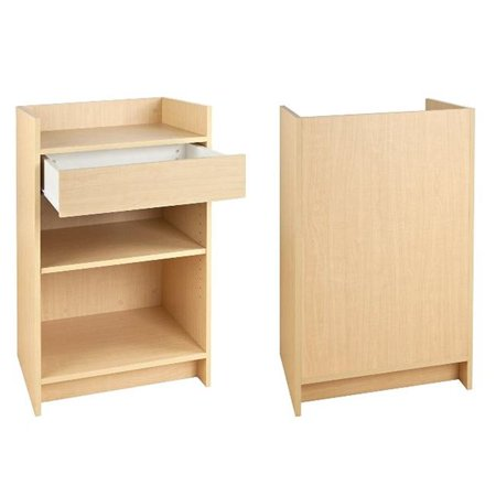 20 in. L x 20 in. D x 38 in. H Maple Register Stand with Drawer and Two Shelves (Pack of (Drawer Shelf Shop Stand)