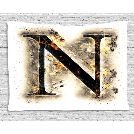 Scorched Cherry (Letter N Tapestry, Capital Scorched Letter N on Fire Alphabet Art Heat Flames Blazing Concept, Wall Hanging for Bedroom Living Room Dorm Decor, 80W X 60L Inches, Tan Black Orange, by Ambesonne )