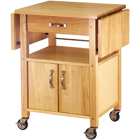 Enclosed Drop Leaf Cart - Winsome Wood Rachael Drop Leaf Utility Kitchen Cart, Natural Finish