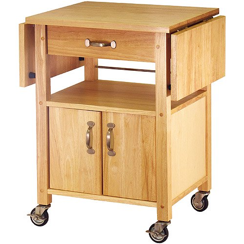 Winsome Wood Rachael Drop Leaf Utility Kitchen Cart Natural Finish Walmart Com Walmart Com