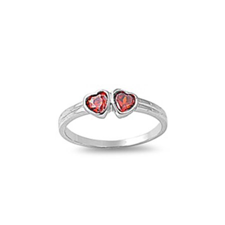 CHOOSE YOUR COLOR Simulated Garnet Classic Heart Love Baby Ring New .925 Sterling Silver Band (Simulated Garnet/Ring Size (Garnet Heart Drop)