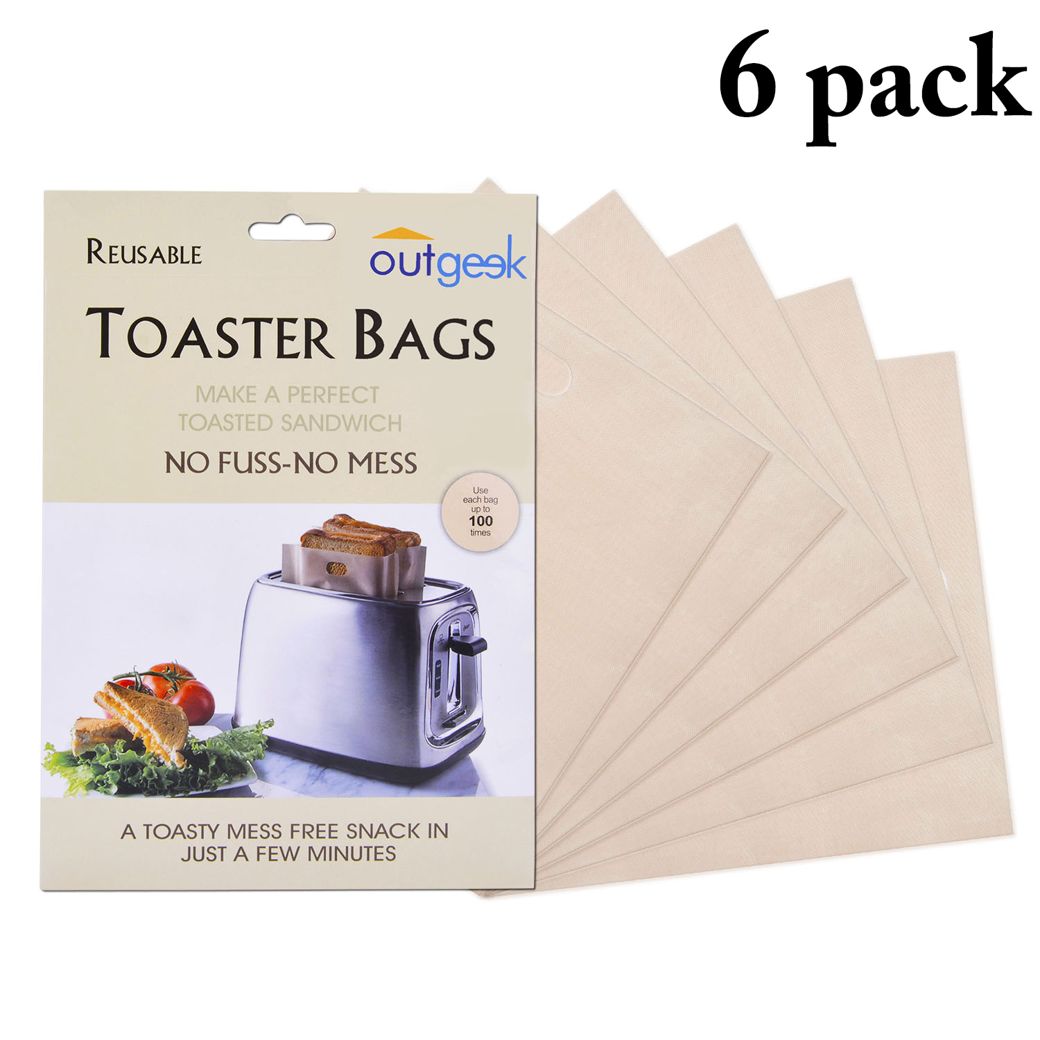 Outgeek 6 Pack Non-Stick Reusable Toaster Bags Grilling Bags for Sandwich Hamburger Bread Breakfast