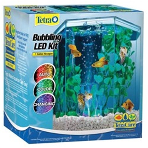 Tetra Bubbling LED Hexagon Aquarium Kit, 1ct