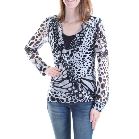 INC Womens Black With Cami Animal Print Long Sleeve V Neck Top  Size: XS - Animals With Womens