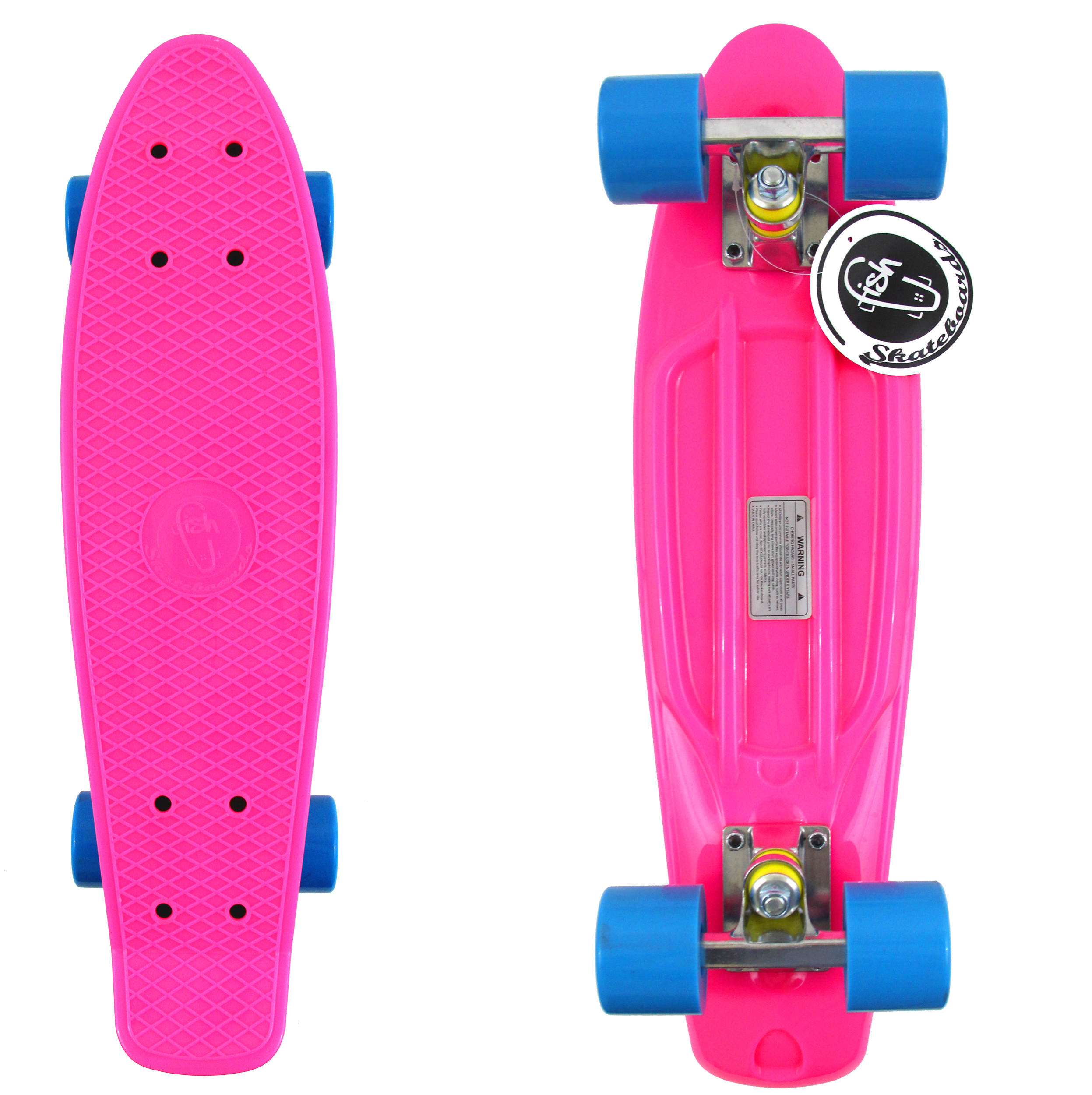 "Fish Skateboard Pink 22"" Retro Cruiser Blue Wheel / Silver Truck"