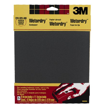 3M Wet/Dry Sandpaper, 5 Assorted Sheets, 9