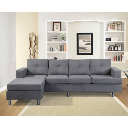 CLEARANCE! Grey Ice Velvet Fabric Sofa Sets with Storage Ottoman and 6 Pillows, SEGMART 104.7