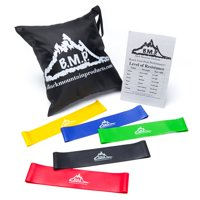 Product Image Black Mountain Products Loop Resistance Exercise Bands Set of  5 with Carrying Case 8e7c88d8052ff