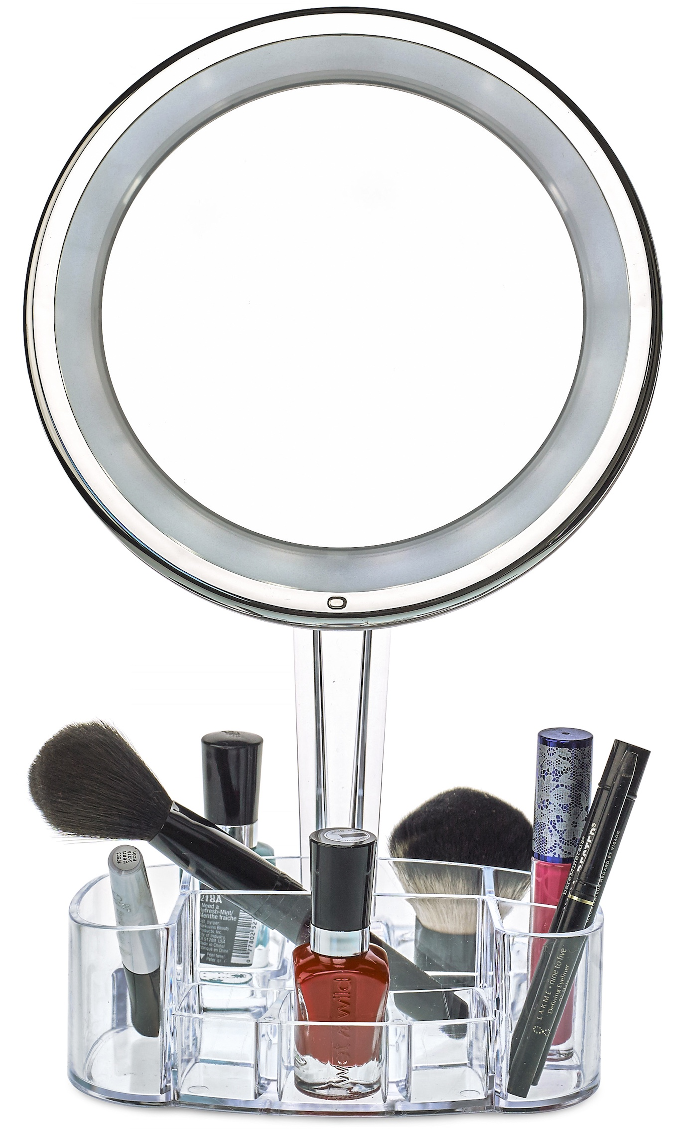 daisi magnifying lighted makeup mirror with cosmetic organizer base 7x led lighted free