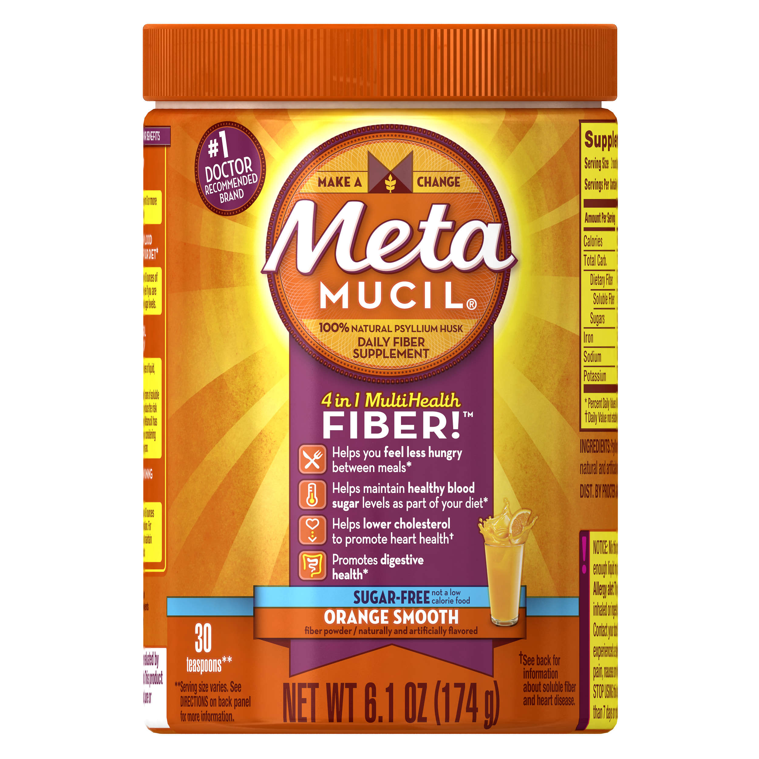 Metamucil Psyllium Fiber Supplement by Meta Orange Smooth Sugar Free Powder 30 doses