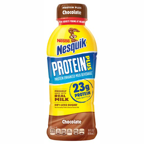 Nestle Nesquik Protein Plus Chocolate Flavored Milk 14 oz Plastic Bottles - Pack of 12
