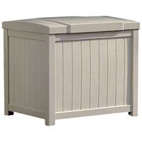 Suncast 22 Gallon Outdoor Resin Deck Storage Box with Seat, Light Taupe