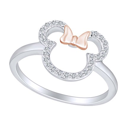 1/6 Carat Round White Natural Diamond Two Tone Minnie Mouse Promise Ring 10k Solid White Gold (I-J Color, I2-I3 Clarity, 0.16 Cttw) Ring Size-4