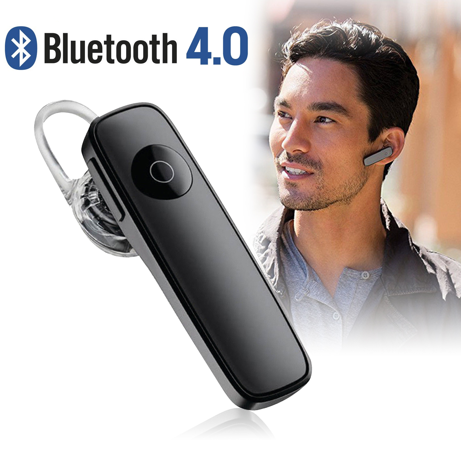 Bluetooth Headset, Wireless Earpiece Bluetooth 4.0 for Cell Phones, In-Ear Piece Hands Free Earbuds Headphone w/ Mic, Noise Cancelling for Driving, Compatible w/ iPhone Samsung Cellphone