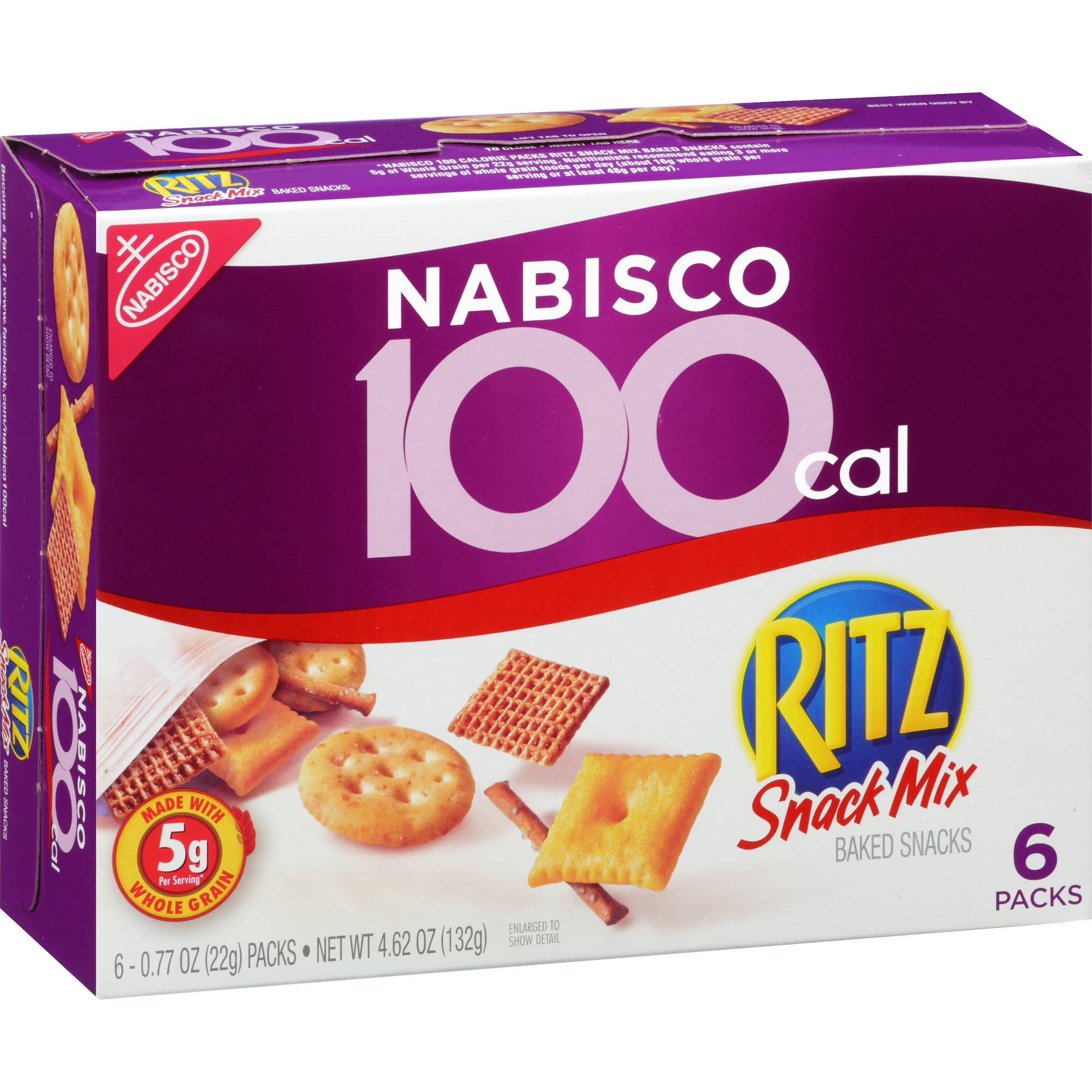 Nabisco 100 Calorie Ritz Snack Mix Baked Snacks, .77 oz, 6 count