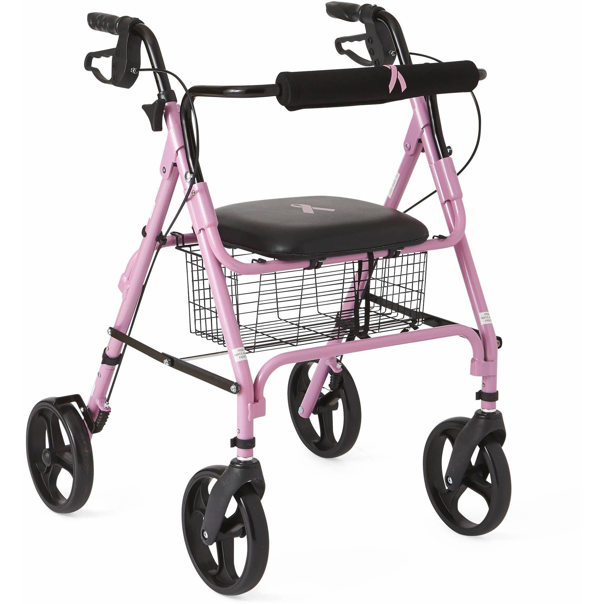 Medline Rollator Walker in Pink, Breast Cancer Awareness Pink Ribbon
